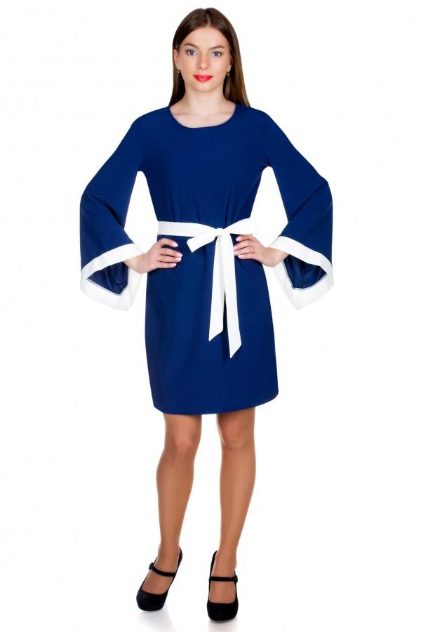 Платье МР Finel Темно-синий+Белый