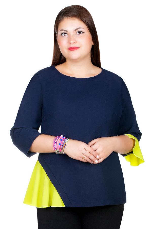 Блуза БР Luminata Темно-синий+салатовый