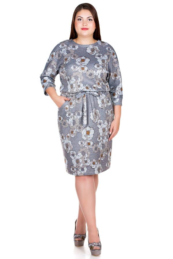 Платье БР Nelly Принт Цветы на светло-коричневом