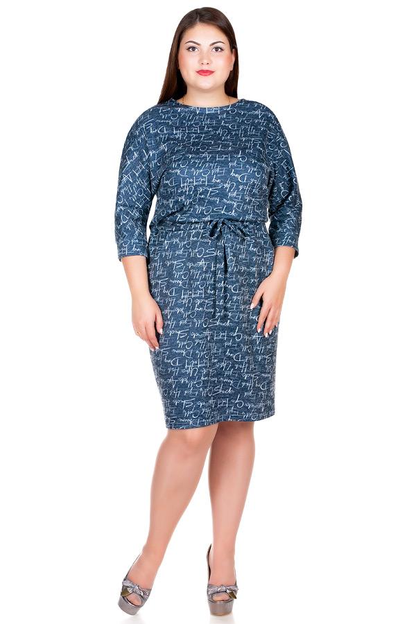 Платье БР Nelly Принт Буквы на синем