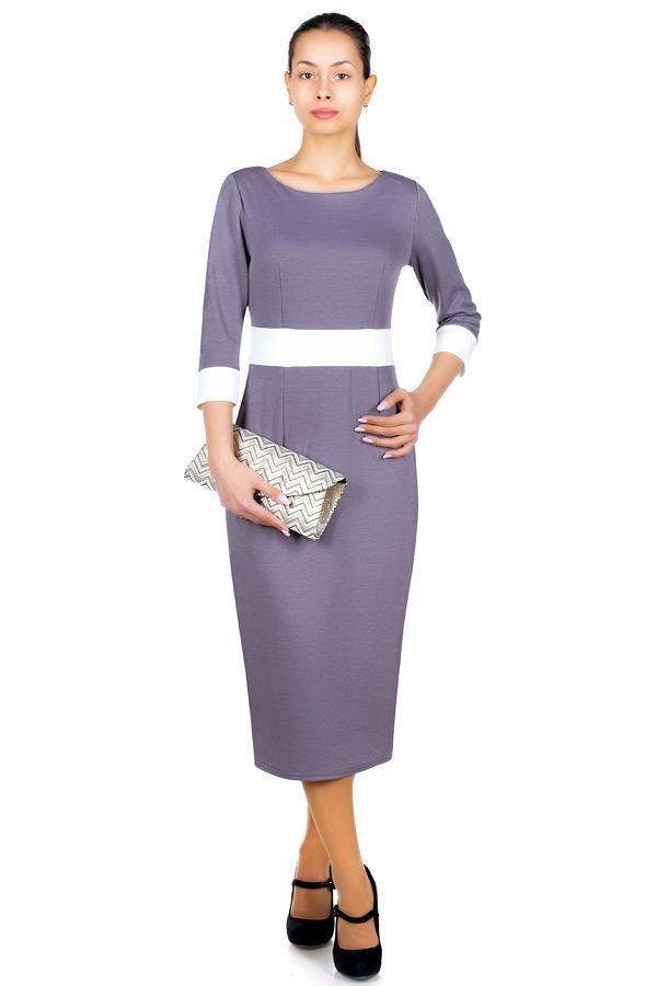Платье МР Metta Светло-серый+Белый