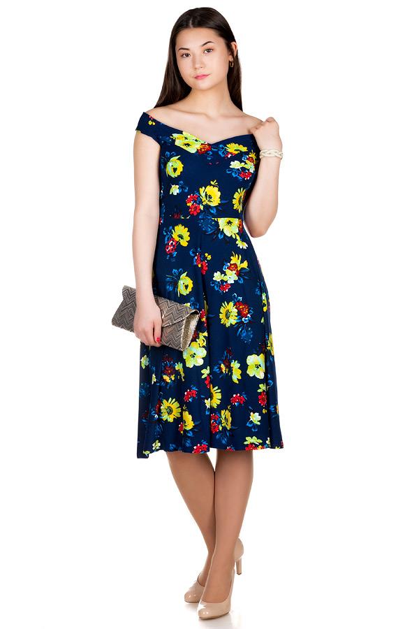 Платье МР Lulu Ромашки на темно-синем